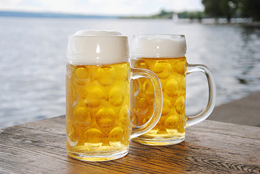 Cold beer in mugs