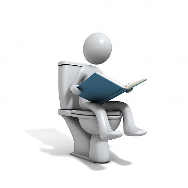 Cartoon Man on toilet
