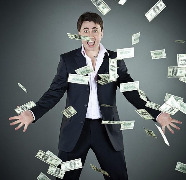 Man tossing money