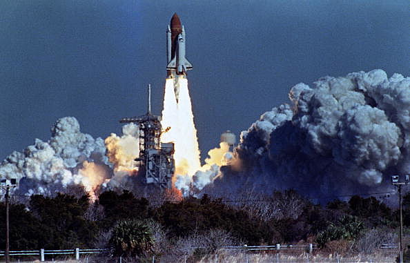 US space shuttle Challenger lifts off