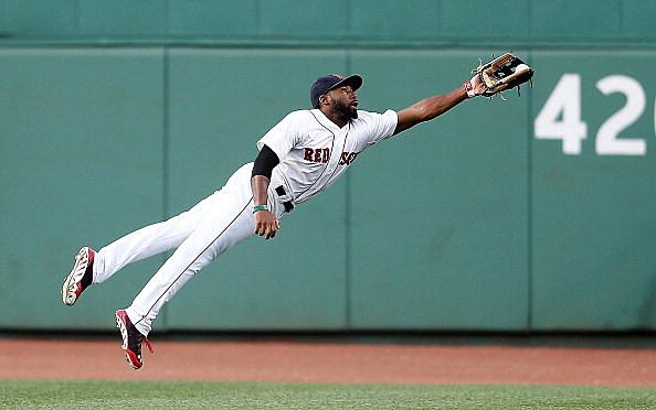Jackie Bradley Jr. soars through the air