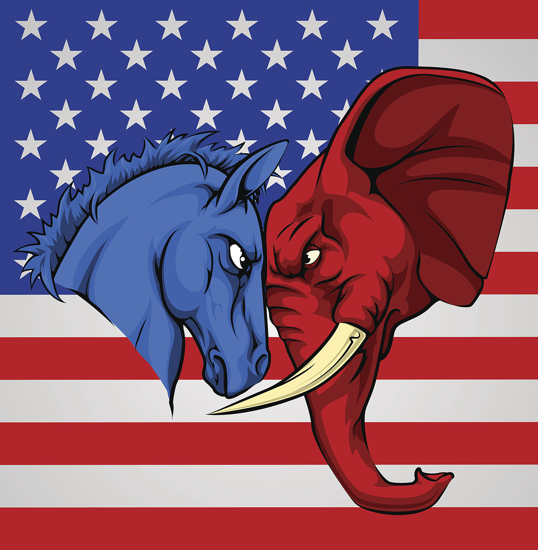 Elephant Donkey Democrat Republican Fight