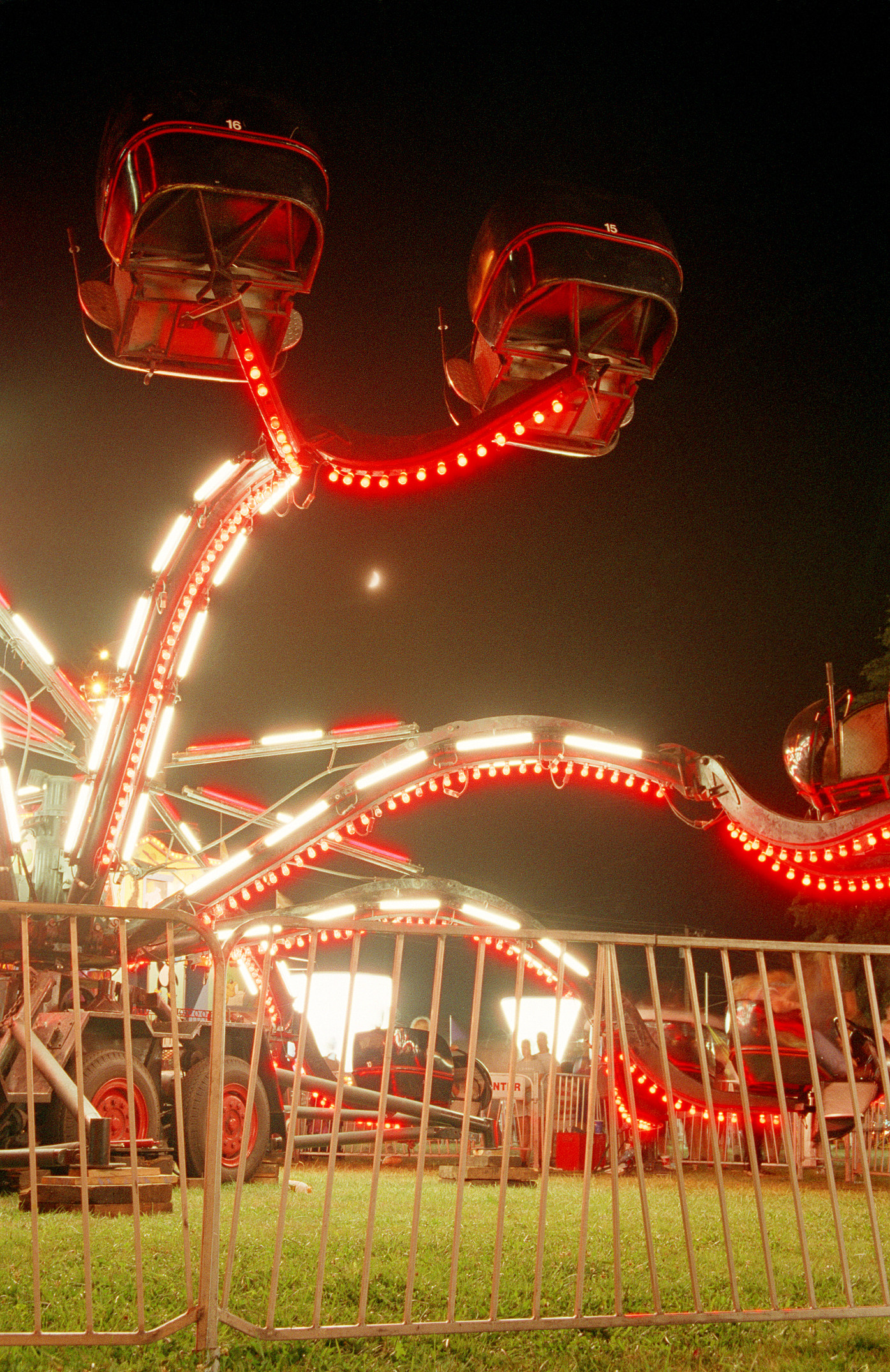 Brightly Lit Carnival Attraction